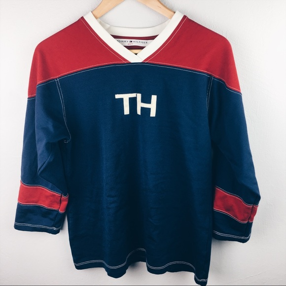 366ea189962 Vintage Tommy Hilfiger hockey jersey. M 5b512407d8a2c72ea38ced82